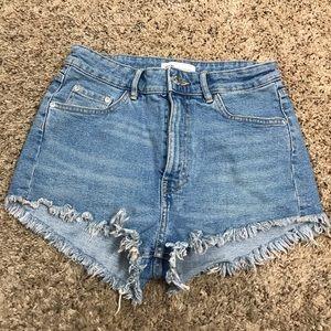 Zara Women Light Wash Denim Cut Off Cheeky Shorts
